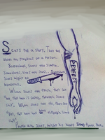 My thoughts about scars written on a school paper. by BlueRaveMod