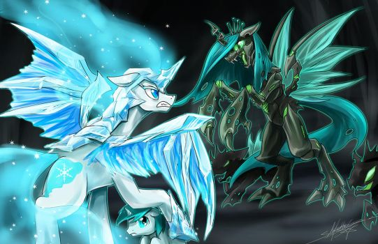 Frightmare Frost vs Chrysalis by slifertheskydragon