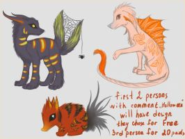 Halloween creature adoptables ALL SOLD by Darkylucifer