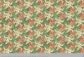 Escher lizards. 3D-Stereogram by 3Dimka