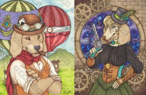 Steampunk Dogs duo Ace and Donatella by Crazdude
