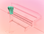 Pink Stage Piano Microphone in Cinema 4D by botshow