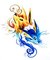 Jolteon and Vaporeon Design by Lucky978