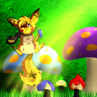 Chillaxing on mushrooms by eevee4everX3