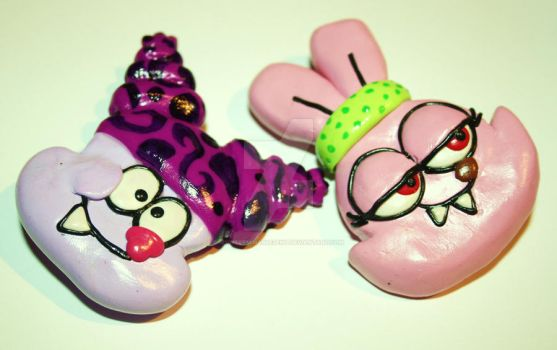 .chowder and panini brooches. by MyInterminableZent