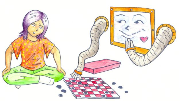 Zish and Argo play checkers by Vironevaeh