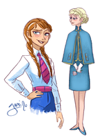 Elsa and Anna in 60's clothes by Yamino