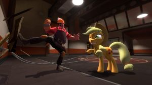 gmod - Applejack teaches Engineer... by Stormbadger