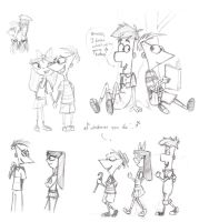 Phineas and Ferb Sketchies by katiediazz
