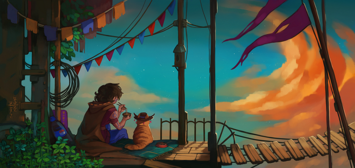 Enjoying evening together by Anyarr