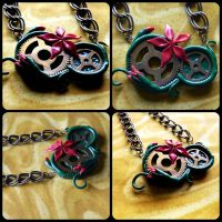 Flowering Gears Necklace For Sale by MaliciousMysteries