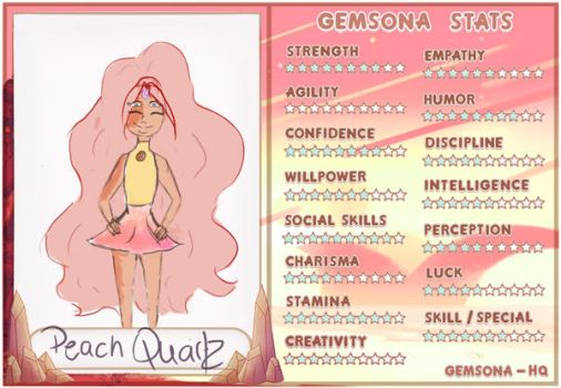 ( GEMSONA ) Peach quartz stat sheet by thewritersora
