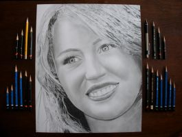 Miley Cyrus Drawing by Rollingboxes