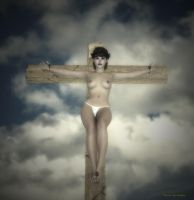 Crucifix in yellow contrast 600 by passionofagoddess