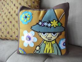 Snufkin Pillow by estranged-illusions