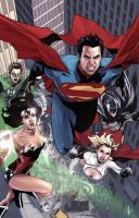 Superman and Team Colored by benttibisson