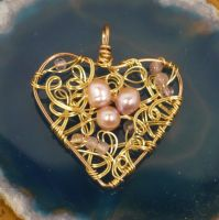 Pearly Pink Heart Pendant by shadowling