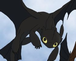 Toothless Flies by DragonOfEclipse