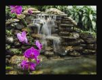 waterfall with purple orchids by tangled-emotions
