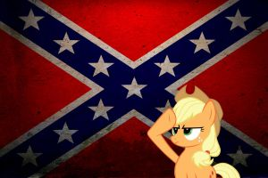 Applejack salute Rebel flag by somekindahatebreeder