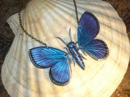 Cyaniris semiargus - Butterfly Necklace by Ganjamira