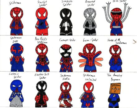 costumes of spiderman by twisted-stoner11