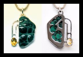 Malachite and Citrine Pendant by manwithashadow