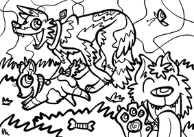 Free Colouring Page DOGGIES by Ithlini