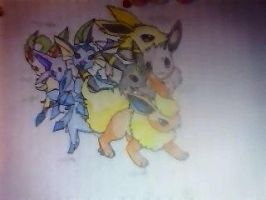 all 7 forms of eevee by moka45