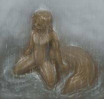 Style Experiment - Sad Kitty In Rain by MOOMANiBE