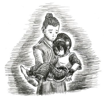 Sokka Carrying Toph by Porcubird