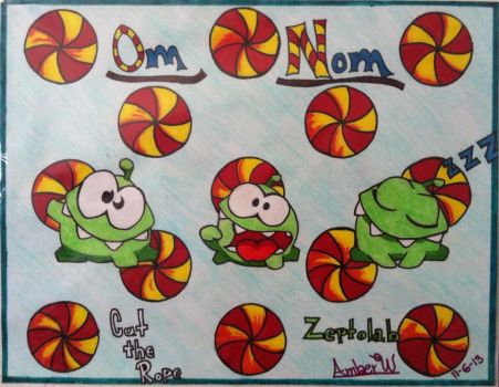 Om Nom Cut the Rope Art by Awilliams96