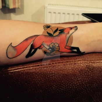 Running Fox Tattoo. Aaron Turner. UK. by UnicornReality
