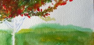 Solo Tree - color - WIP - sky and ground - horizon by muridaee