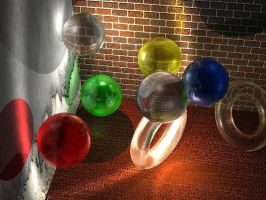 Raytraced glass balls and torii etc. by mcsoftware
