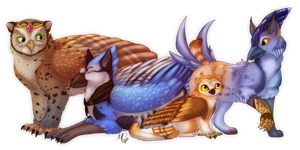 Commission || Four Feathered Friends by Fainalotea