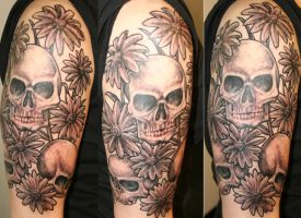 skulls and daisies by tattooedone