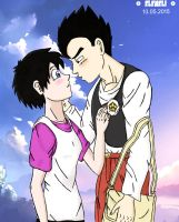 Gohan and Videl, before the first kiss (remake) by eleneli