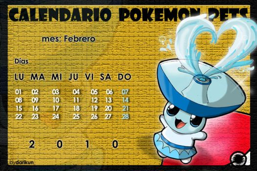 Pokemon Calendar -Febrero2010- by darikun
