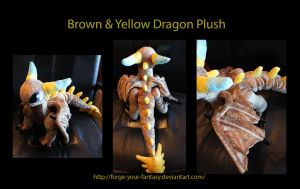 Brown and Yellow Dragon Plush OC - Commission by Forge-Your-Fantasy