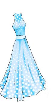 Silver spotted blue dress by Nataly-Kumamoto