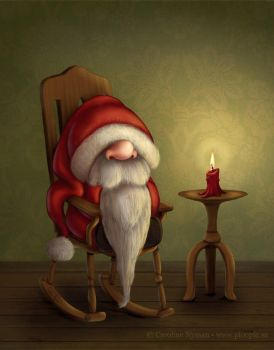 Little Santa in his rocking chair by Ploopie