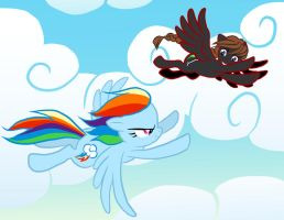 Duo Races Rainbow Dash by SapphireGamgee