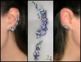 Winter plum earcuff and earvine by JSjewelry