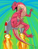 Rocketpowered Dilophosaurus by breakbot