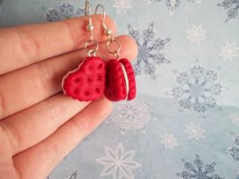 Red Heart Biscuit Earrings by Xiiilucky13