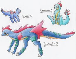 Totodile Evolution Series X by CelestialTentails