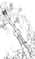 Ace of Wands BW by TheIronClown
