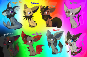 .:Ashy as All the Eeveelutions:. by vaporeonshit
