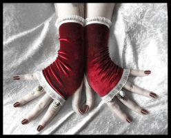 Red Velvet Fingerless Gloves by ZenAndCoffee